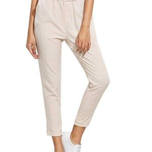 Pants - Cream grid high waisted joggers trousers pants s
